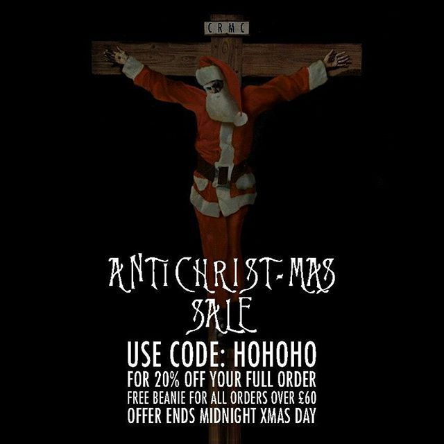 CRMC ANTICHRIST-MAS SALE Further reductions on many items at www.crmc-clothing.co.uk | WE SHIP WORLDWIDE  USE DISCOUNT CODE - HOHOHO - FOR 20% OFF YOUR FULL ORDER. FREE BEANIE with all orders over £60#christmas #christmas2016 #christmassale #christmasdeals #Christmasshopping #discounts #sale #antichrist #discount #antichristmas #santa #alternativegirl #alternativeboy #alternativeteen #blackwear #fashionstatement #altfashion #black #loveblack #fashion #crucifiedsanta