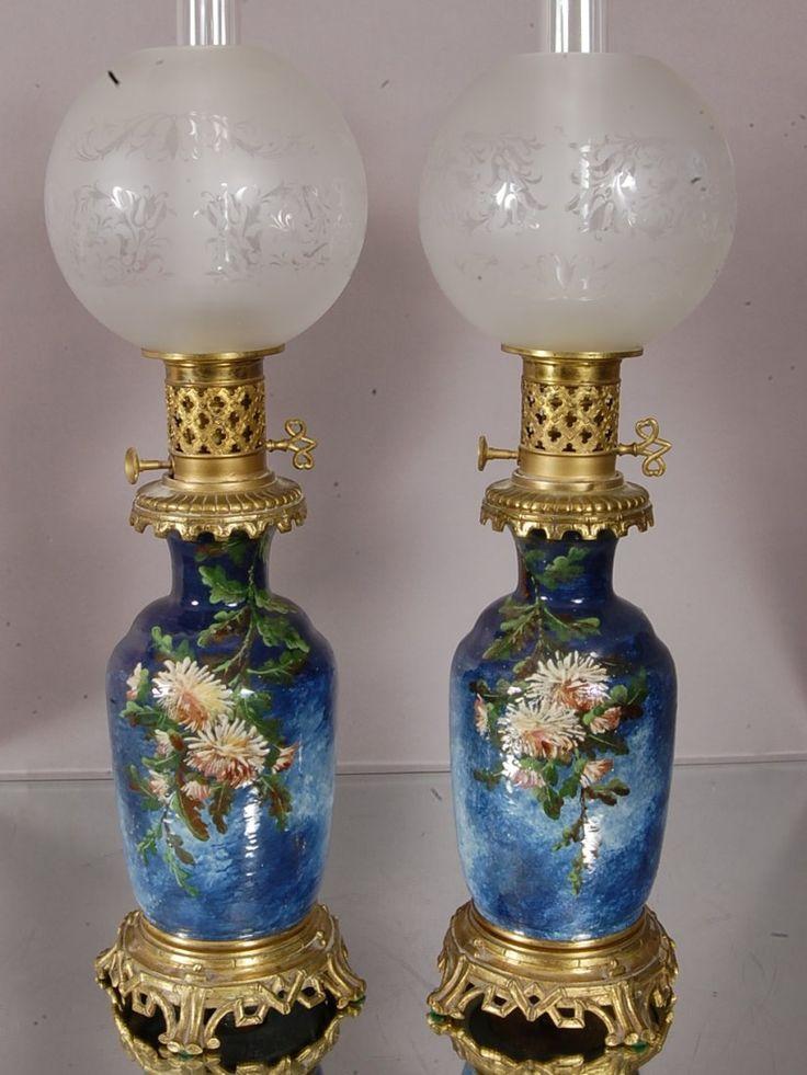 French Porcelain parlor lamps.