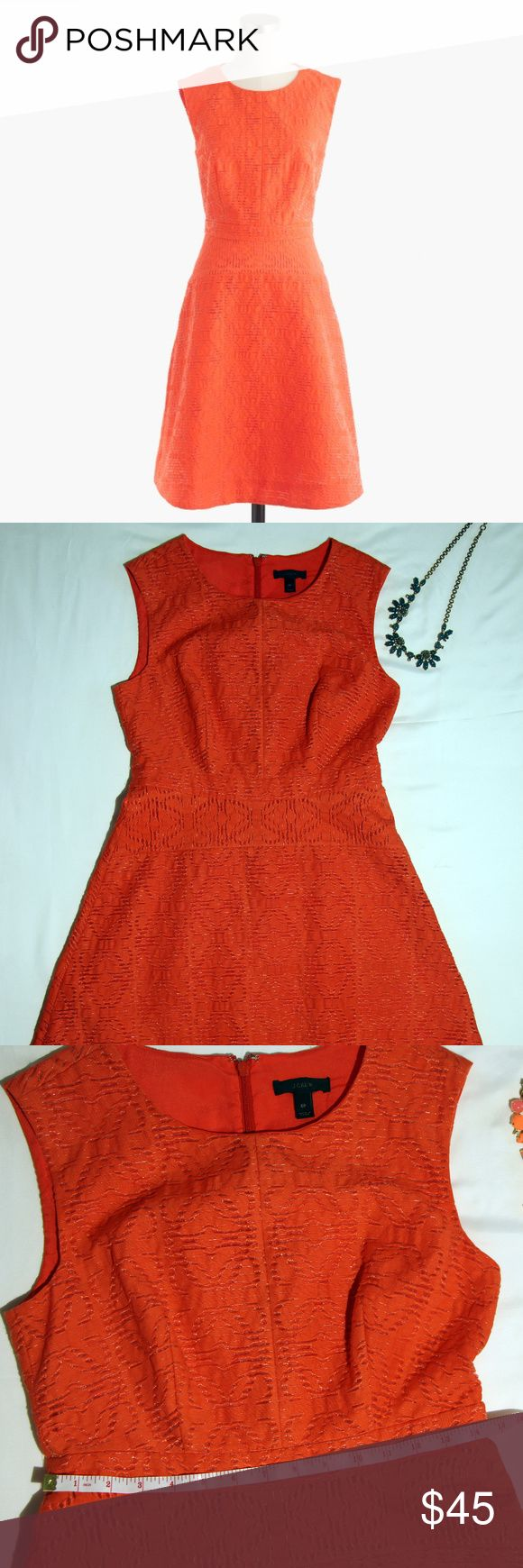 J.Crew Petite 6 eyelet jacquard orange dress An easy sleeveless sundress made from eyelet jacquard in a unique geometric pattern. It transitions from Friday night dinner to Saturday morning in the park with a few strategic footwear decisions.      -Pre-loved, in very good condition.     -The original J.Crew picture shows the real color.      -Cotton/nylon.     -Bra keeps.     -Back zip.     -Lined.     -Machine wash. J. Crew Dresses