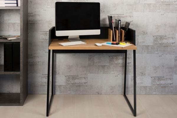Volga, modern compact office desk in black matte and oak veneer finish #home #interior #contemporaryfurniture #furniture #modernfurniture #design #temahome