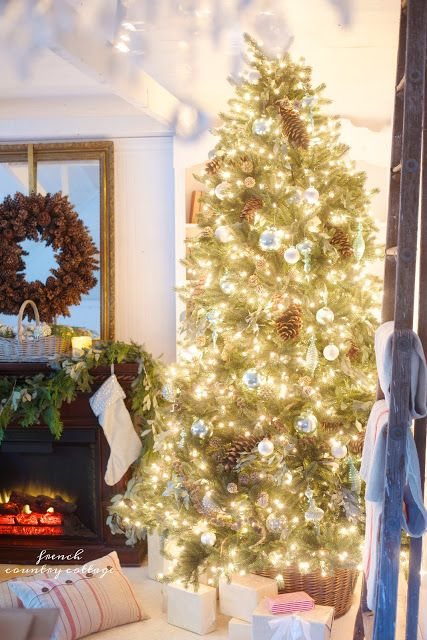 Vermont White Spruce decorated with a French blue cottage theme