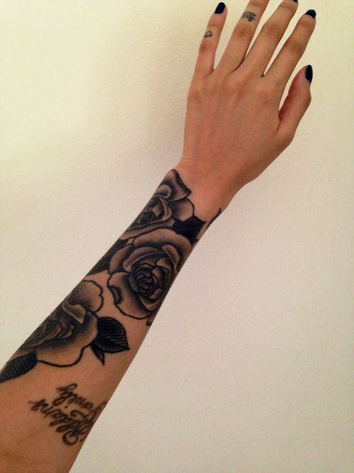 Beginning Stages Roses Sleeve Tattoos Ink Body Art