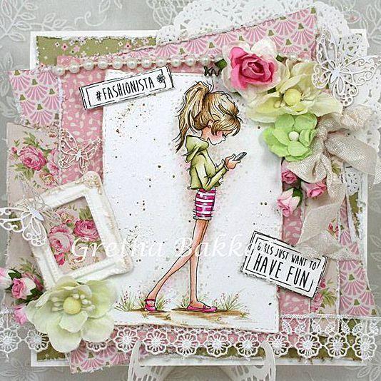 Скрап открытка для девочки подростка