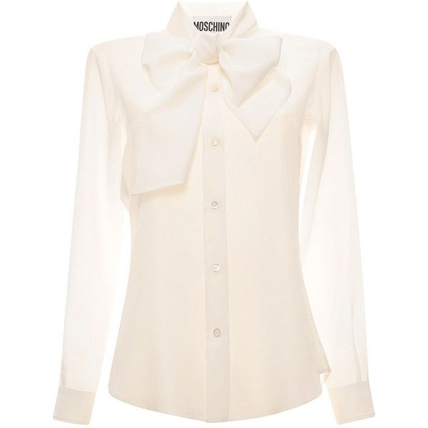 Moschino White Blouse With Bow (18.969.870 VND) ❤ liked on Polyvore featuring tops, blouses, long sleeve tops, white bow blouse, moschino top, moschino and bow blouse