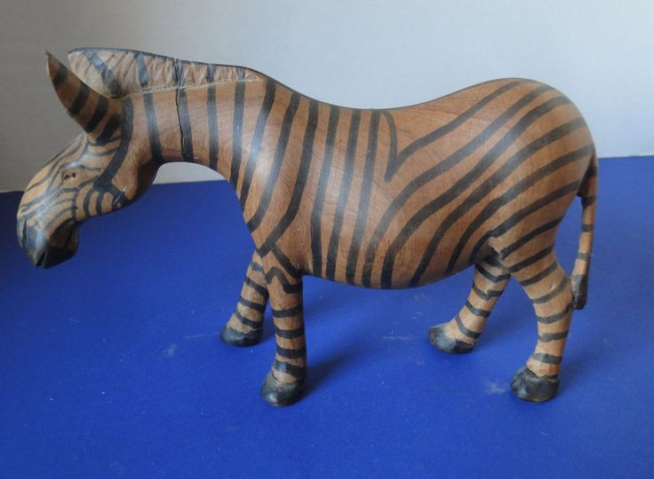 "Zebra , Hand Carved Solid Heavy Wood 8"" Long Great Detail & Color"