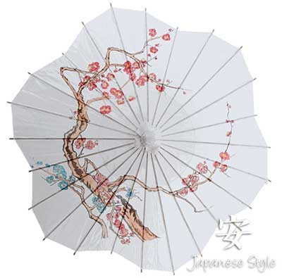 """Japanese Oil Paper Parasol 32"""" in diameter w/delicate cherry blossoms (all that is missing is a little lace trim)."""