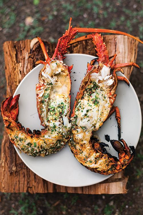 Grilled lobster with garlic and parsley butter (recipe courtesy of Saveur magazine).