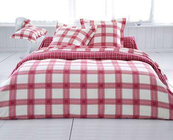 Linge de lit flanelle carreaux mouchoir
