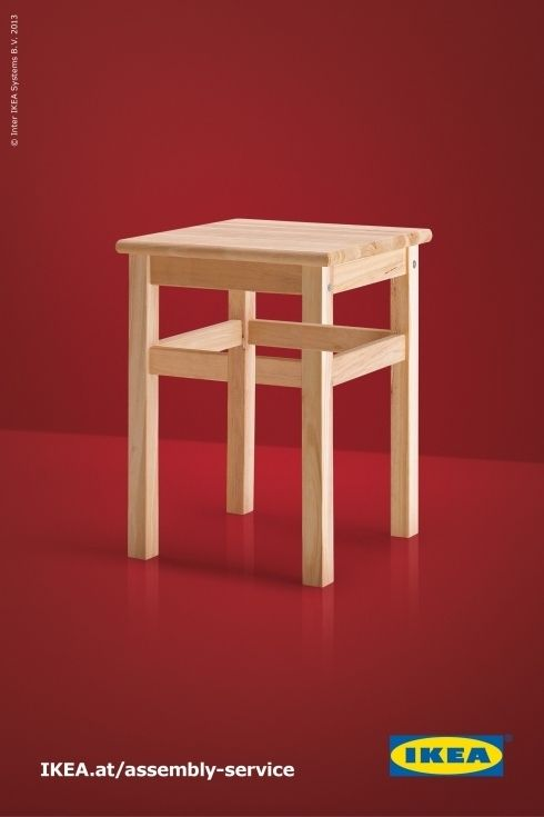 Very simple and direct art direction. The viewer has only to focus on the piece of furniture, when upon close inspection, has an impossible configuration. The punchline is revealed cleverly in the web url.