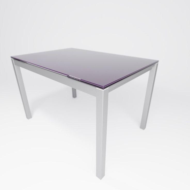Mesa de cocina extensible con dos alas laterales en cristal. Disponible en varios colores.   Acabado Berenjena   #mesasdecocina