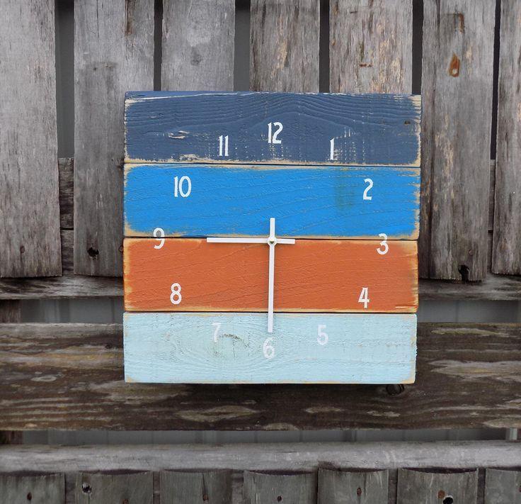 Nautical Clock, Rustic Beach Clock, Primitive Wood Clock, Pallet Clock, Blue and Orange Clock, Rustic Wall Clock, Nautical Beach Clock by ThePalletDoctor on Etsy https://www.etsy.com/listing/239924721/nautical-clock-rustic-beach-clock