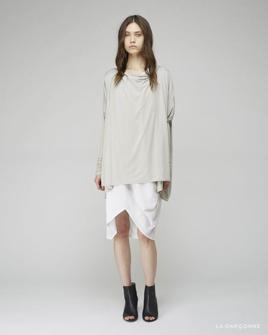 Rick Owens Lilies / Slim Sleeve Draped Neck Top  Zero + Maria Cornejo / Cade Dress  Marsèll / Neo Sandolo Woven Boot
