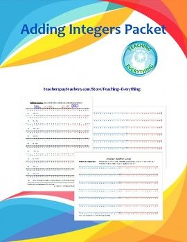 Great for introducing or reinforcing addition with integers.  -- Number lines are color-coded for negative, zero, and positive.-- Basic guides and examples are included.-- A page full of color-coded number lines for general use is also included.-- Discovery-exercise for introducing addition of integers, Color-coded integer number lines, Worksheet on adding integers with number lines included.