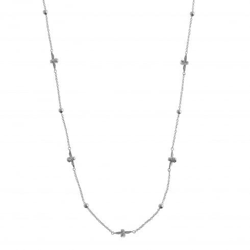 Moulded Bee & Ball Necklace Silver | Olivia Burton London