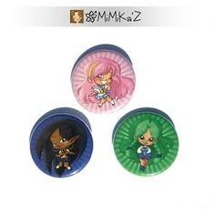 Lot de 3 badges 32mm Princesses en uniformes d'écolières