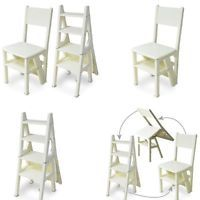 New Innovative Clever Folding Fold Up Library Steps Step Ladder Chair Ivory