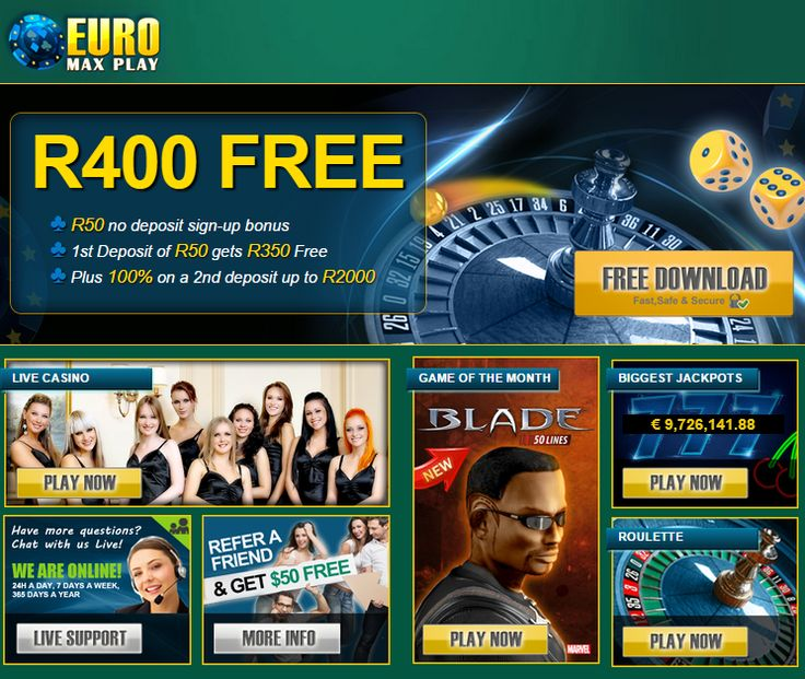 #NewOnlineCasinoSouthAfrica -  #R50FreeNoDepositBonus @ #EuroMaxPlay  EuroMaxPlay Casino is a brand new #onlinecasino now accepting South African Rand. SA players joining from this site can claim up to R350 in free credits  http://onlinecasinobonus.co.za/euromaxplay-online-casino-review.html