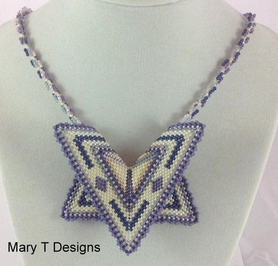 Five point geometric peyote beadwoven pendant necklace by EBW Team,  MaryTDesigns on Etsy