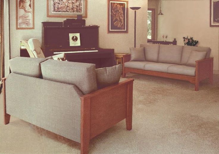 Scandinavian sofas & loveseats, Southwestern Mission country wood frame couches in our Florida model