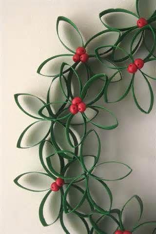 christmas wreath using toilet paper rolls