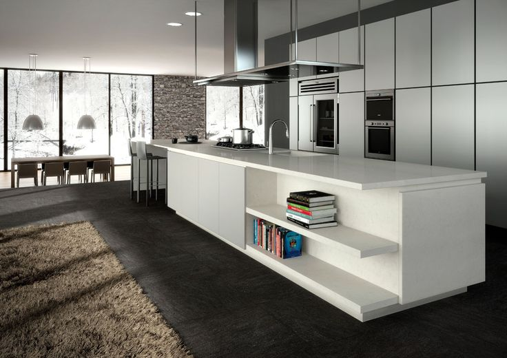 Love this long kitchen bench and bench top. Caesar stone, London Grey