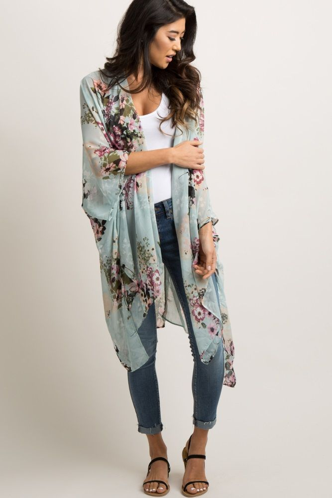 Womens 3 4 Sleeve Kimono Casual Floral Cardigan Open Draped Front Cover Up Tops
