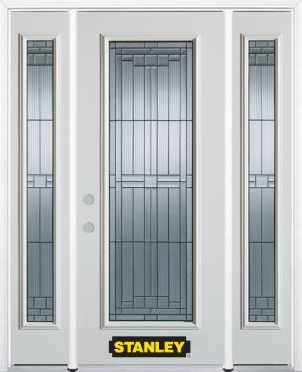 68 5 Inch X 82 375 Inch Seattle Zinc Full Lite Prefinished White Right Hand Inswing Steel Prehung Front Door With Sidelites And Brickmould Entry Doors Exterior Doors Doors