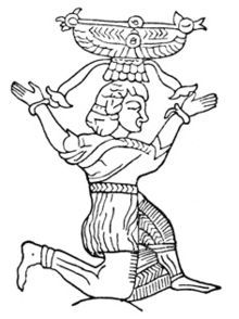 "The Urartian solar god Shivini, a drawing based on an image on an object (a belt) from the History Museum of Armenia. Shivini or Artinis (the present form of the name is Artin, meaning ""sun rising"" or to ""awake"", and it persists in Armenian names to this day) He is the third god in a triad with Khaldi and Theispas and is cognate with the triad in Hinduism called Shivam."