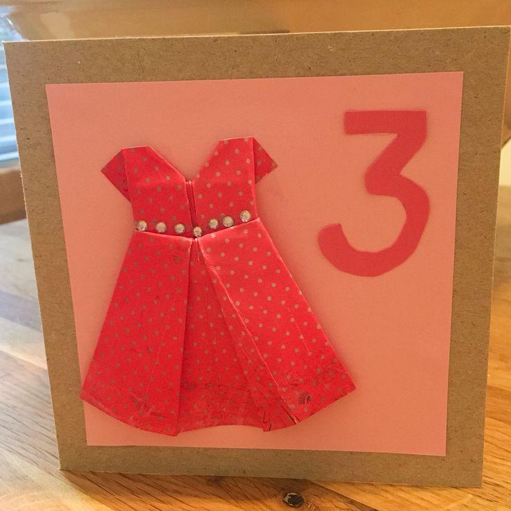 Kortti 3-vuotiaalle. Origami.