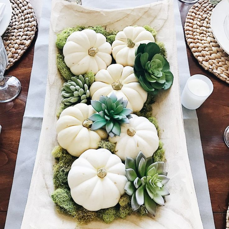 Simple Fall Decorating Ideas Using White Pumpkins