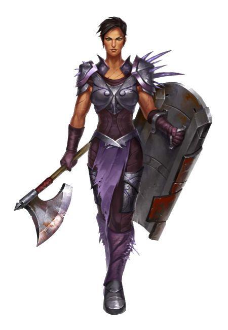 Female Human Half Elf Fighter Paladin Black Hair Axe Shield