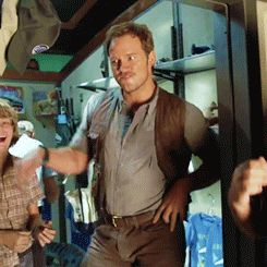 Chris Pratt goofing off on the set of Jurassic World