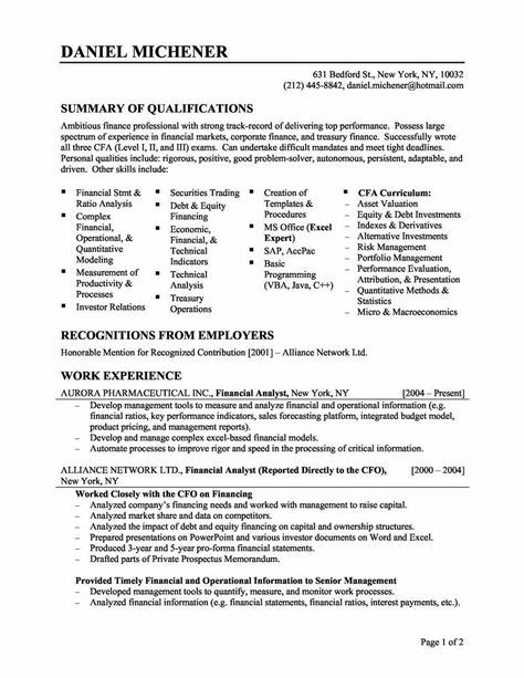 Resume For Skills Financial Analyst Resume Sample Work