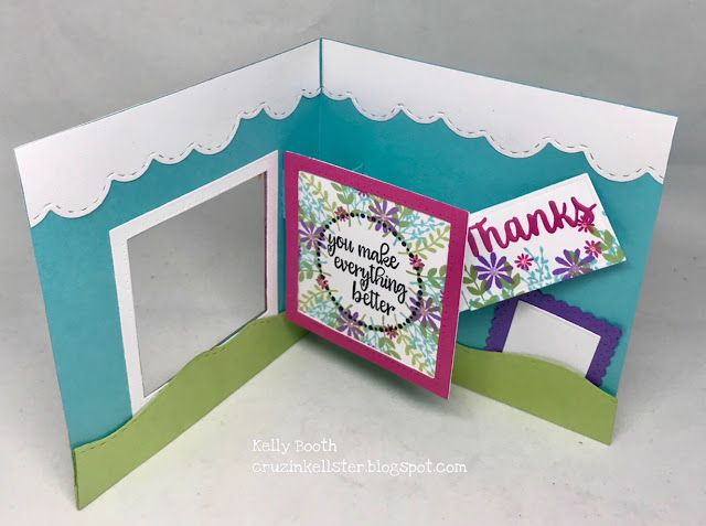 Lovin The Life I Color A Spinner Square Pop Wreath Builder Using Does By Karen Burniston And Stamps And Template Pop Up Cards Fun Fold Cards Fancy Fold Cards