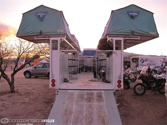 Multiple Roof Top Tents Mounted On Motorcycle Trailer Camping Trailer Camping Motorcycle Camping
