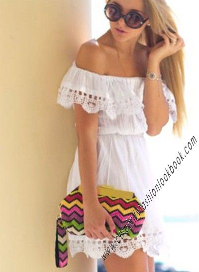 Off Shoulder White #Dress (dp143) #sexy and #chic only at http://celebrityfashionlookbook.com/dp143-off-shoulder-white-dress.html