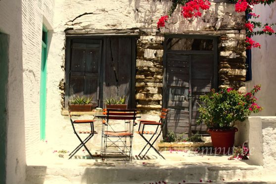 Old door and window Pyrgos Tinos Island Greece