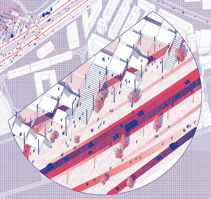 Space Popular's urban vision for the redevelopment of Highway A66 in Ovideo, Spain. LaLara Lesmes, Fredrik Hellberg, Jariyaporn Prachasartta, Kanyaphorn Kaewprasert, Kornkamon Kaewprasert