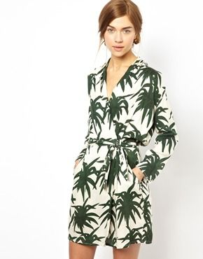 Ingrandisci Ganni - Vestito con stampa di palme in stile giungla