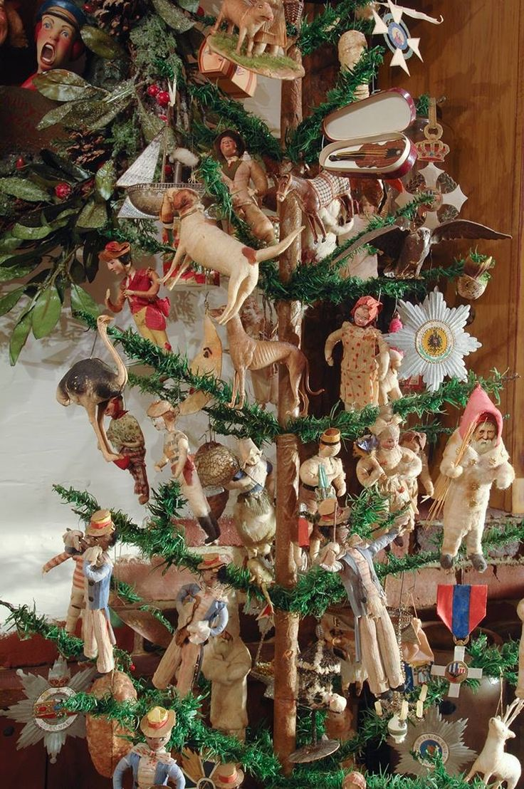 dresden and cottons ornaments on feather tree