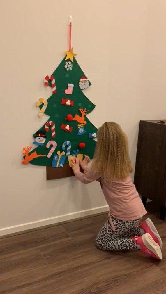 Restocked 3 Foot Kids Felt Christmas Tree Kit Hang Inside Etsy In 2020 Felt Christmas Tree Christmas Tree Kit Christmas Activities For Kids