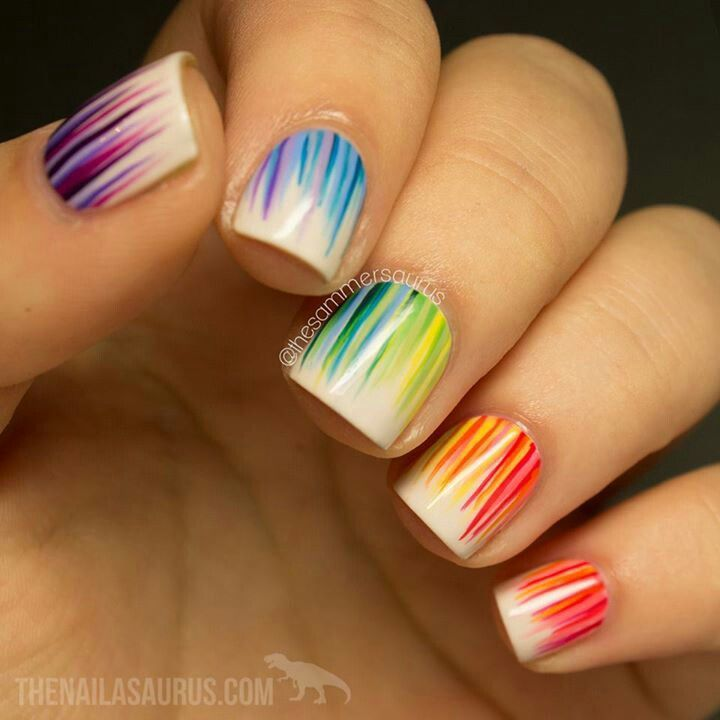 multi colored nail polish, nail art, nail paint