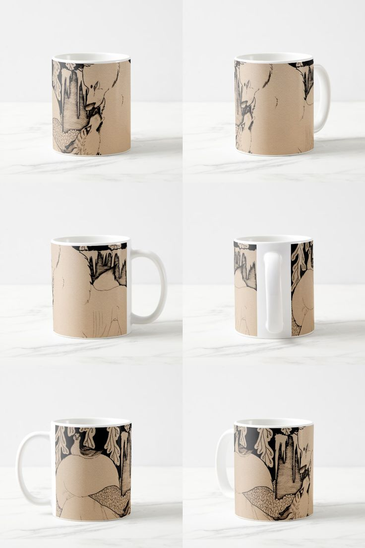 """""""Nice to Meet You"""" Black and White Decorative Coffee Mug #wolf #dog #wolf_products #sepia #cute #art #illustration #drawing"""