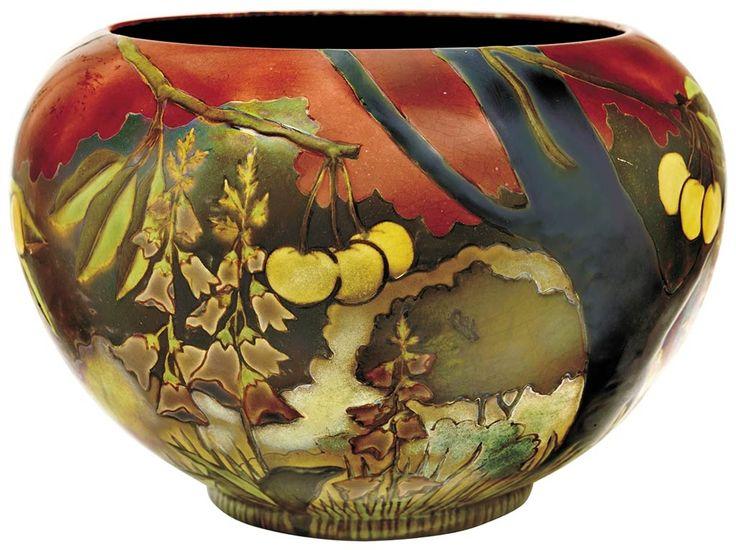 Virág Judit Galéria | Rose-bowl with Foxglove and Cherry-tree decor, Zsolnay, c. 1905