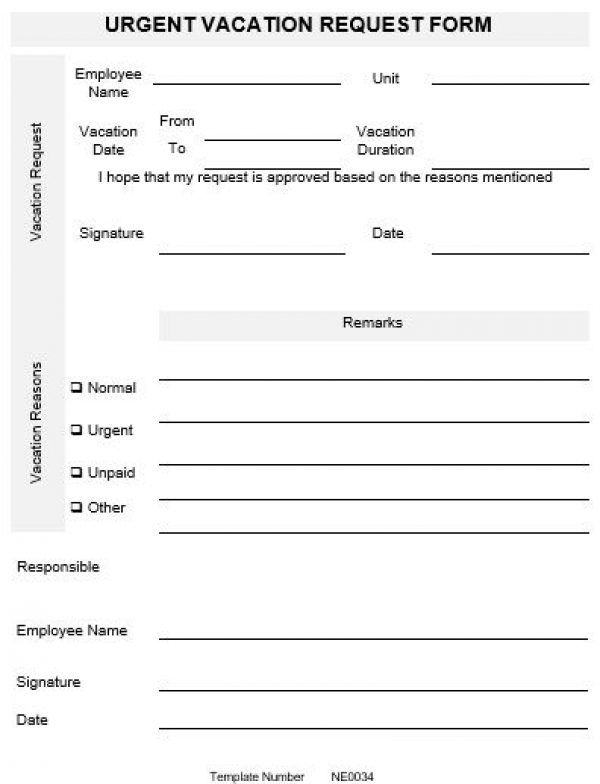 NE0034 Urgent Vacation Request Form Template \u2013 English نموذج طلب