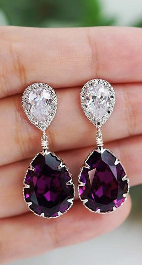 we ❤ this!  moncheribridals.com  #purplewedding #purpleweddingjewelry