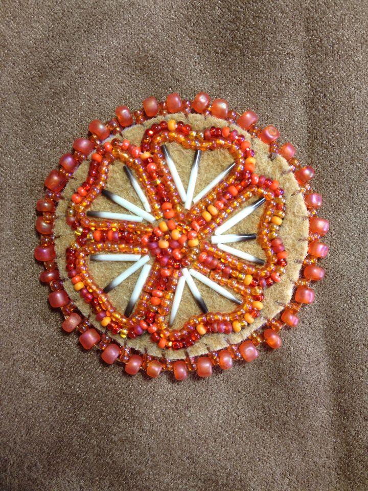 Orange Flower Magnet with Porcupine Quills by Alaska Beadwork.