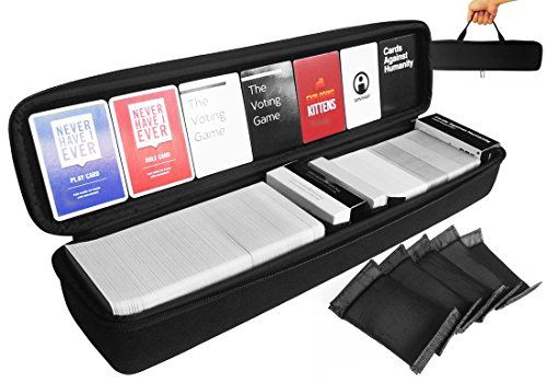 FitSand (TM) Large Hard Case for Card Game - 5 Moveable Dividers - Big Black Box Bigger Blacker Box Best Protection for Cards Against Non Humanity Behavior of Horrible People