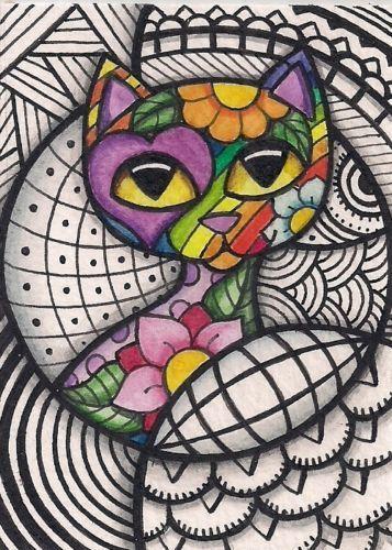 Colorful Cat Art Pattern | ACEO Colorful Cat in A Zentangle Design Original Art | eBay