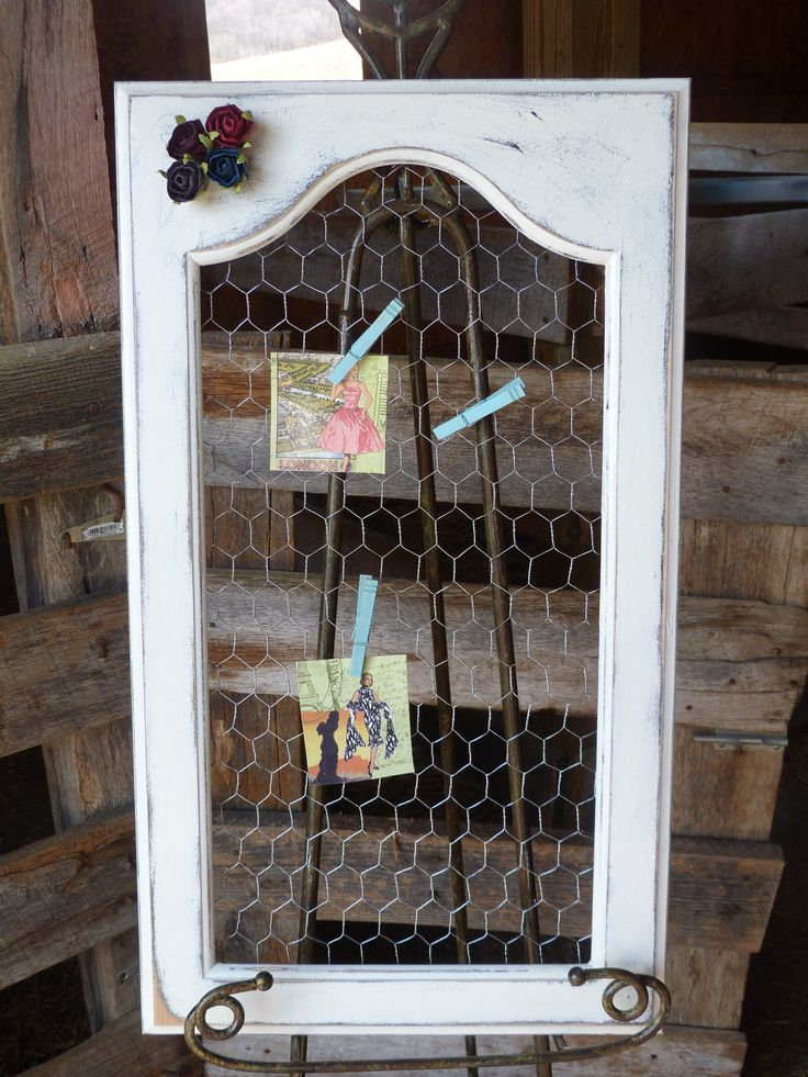 Shabby and Chic White Upcycled Rustic Photo Message Frame, Chicken Wire Photo White Message Frame Cottage Wall Decor Wall hanging. $21.99, via Etsy.